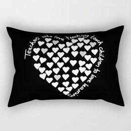Hearts Heart Teacher White on Black Rectangular Pillow