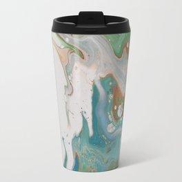 Turquoise Green Fluid Flow Marble Art Travel Mug