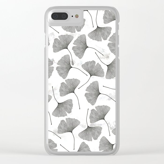 ginkgo biloba pattern Clear iPhone Case