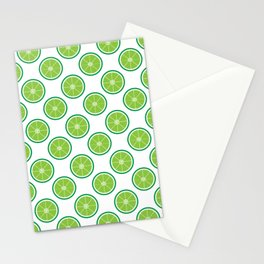 Lime Green Fruit Slice Pattern Stationery Cards