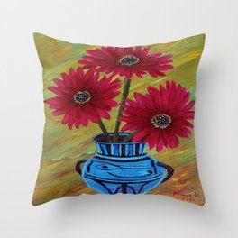 Blue vase with flowers/ still life  Throw Pillow