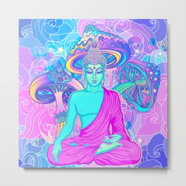 Sitting Buddha among psychedelic Mushrooms Metal Print