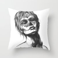 sugar skull Throw Pillows featuring Sugar Skull by Lena Safaniouk