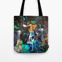 skateboard Tote Bags featuring skateboard street by  Agostino Lo Coco