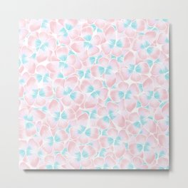 Hand drawn coral pink teal watercolor floral Metal Print