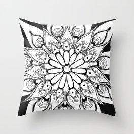 Daisy mandala Throw Pillow