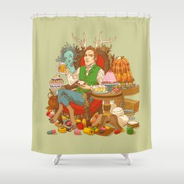 Gelatin God: Hydrocolloid Pantheon Shower Curtain