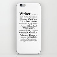 writer iPhone & iPod Skins featuring Writer by Rebekah Joan