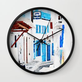 Watercolor Painting of Mykonos Wall Clock