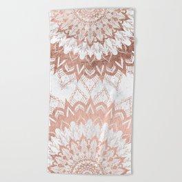 Modern chic rose gold floral mandala illustration on trendy white marble Beach Towel