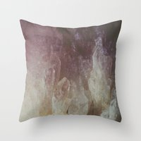 crystal Throw Pillows featuring Crystal by Neon Wildlife