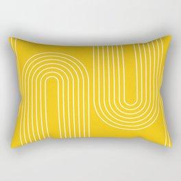 Geometric Lines in Mustard Yellow (Rainbow Abstraction) Rectangular Pillow