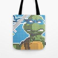 teenage mutant ninja turtles Tote Bags featuring Teenage Mutant Ninja Turtles - Leonardo by James Brunner