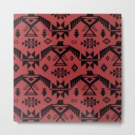 Southwestern Thunderbird Kilim in Rust Red + Black Onyx Metal Print