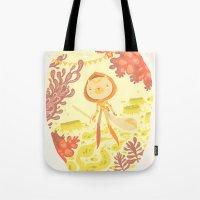 skyrim Tote Bags featuring skyrim by yohan sacre