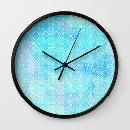 Liquid blue Moroccan print Wall Clock
