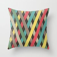 striped Throw Pillows featuring Striped by General Design Studio
