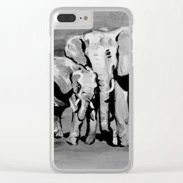 Black and white mother and baby elephant Clear iPhone Case