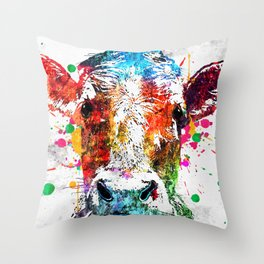 Cow Watercolor Grunge Throw Pillow