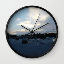 parking lot sunset Wall Clock