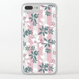 Gray pink floral pattern Clear iPhone Case