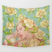 magnolia Wall Tapestries featuring Magnolia by Nana Iida