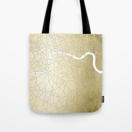 Gold on White London Street Map II Tote Bag