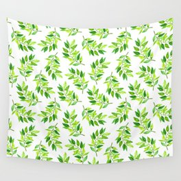 Watercolor Greenery Wall Tapestry