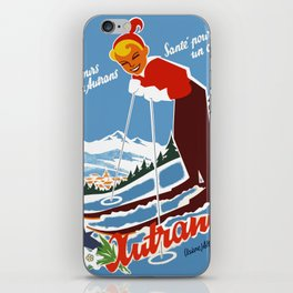 Vintage Autrans France Ski Travel iPhone Skin