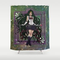 sailormoon Shower Curtains featuring Sailor Pluto by Teo Hoble