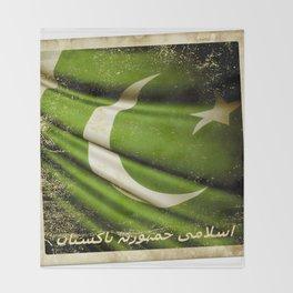 Islamic Republic of Pakistan grunge sticker flag Throw Blanket