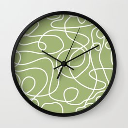 Doodle Line Art | White Lines on Spring Green Wall Clock