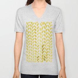 Cute watercolor knitting pattern - ochre Unisex V-Neck