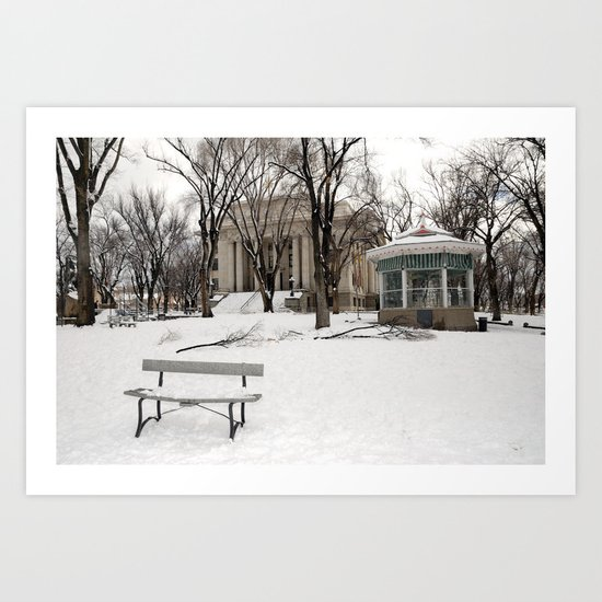 Winter time - Courthouse in Prescott AZ - Wiskey Row Art Print