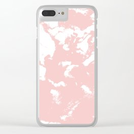 Marble pastel pink 2 Suminagashi watercolor pattern art pisces water wave ocean minimal design Clear iPhone Case