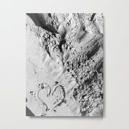 Heart in sand Metal Print