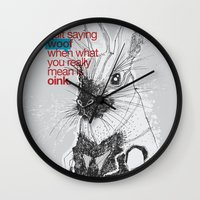 politics Wall Clocks featuring Politics by YONIL