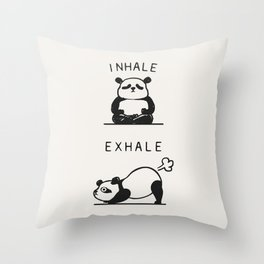 Inhale Exhale Panda Throw Pillow
