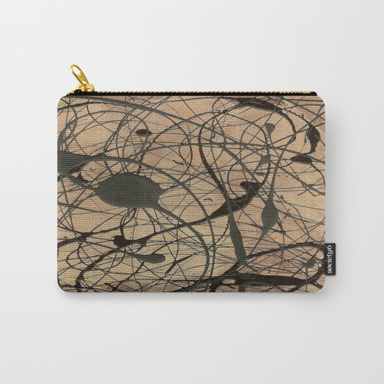 Pollock Inspired Abstract Black On Beige Carry-All Pouch
