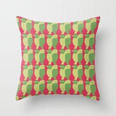 GREEN/LEMON BIRDS Throw Pillow