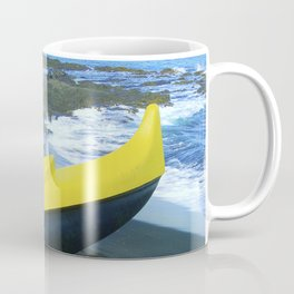 Outriggers on Hawaii's Big Island Black Sand Beach Coffee Mug