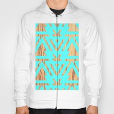 Modern Turquoise Abstract Triangles Pattern Wood Hoody