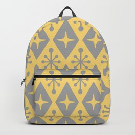 Mid Century Modern Atomic Triangle Pattern 711 Yellow and Gray Backpack