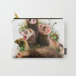 Four Ferrets in Their Wild Habitat Carry-All Pouch