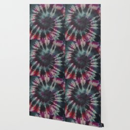 Tie Dye Spiral Black Turquoise Purple Red Wallpaper