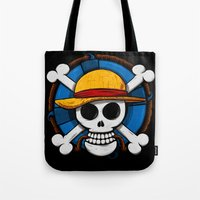 luffy Tote Bags featuring On pirate by le.duc