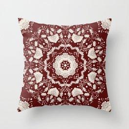 Red Floral Batik Throw Pillow