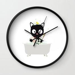 Bathing Cat in a bathtub Wall Clock