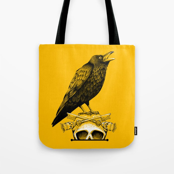 Black Crow, Skull and Cross Keys Tote Bag