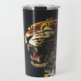Roaring Leopard Retro Vintage Animal Art Travel Mug